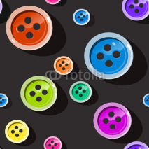 Seamless Buttons. Colorful Button Pattern on Dark Background. Suitable for Web Designs or Cover Prints.