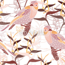 Naklejki Seamless floral pattern with birds