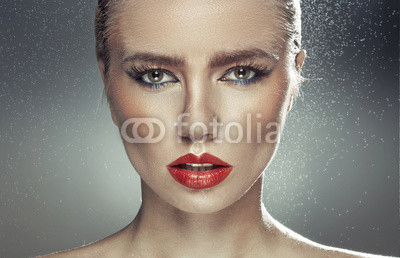 Young pale lady with natural big lips