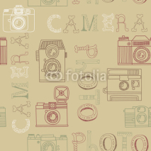 Naklejki Seamless pattern with old cameras