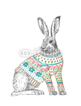 Naklejki Rabbit in sweater