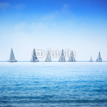 Naklejki Sailing boat yacht regatta race on sea or ocean water