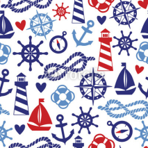 Naklejki Vector seamless pattern with sea elements: lighthouses, ships, anchors. Can be used for wallpapers, web page backgrounds