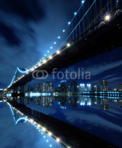 Obrazy i plakaty Manhattan Bridge At Night Lights, New York City