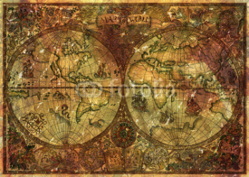 Fototapety Vintage illustration with ancient world atlas map on old parchment