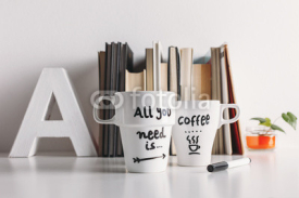 Fototapety Two white coffee mug with diy decoration.