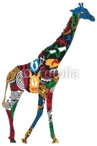 Fototapety Giraffe in the African ethnic patterns