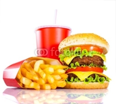 Fototapety Tasty hamburger and french fries