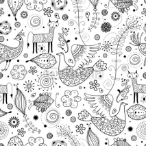 Naklejki Seamless graphic pattern of fabulous animals