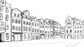 Naklejki old town - illustration sketch