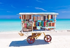 Naklejki Cart selling typical souvenirs on cuban beach of Varadero