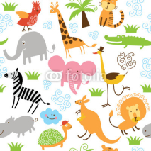 Naklejki seamless pattern with cute animals
