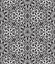 Obrazy i plakaty Black and white abstract hand-draw seamless pattern.