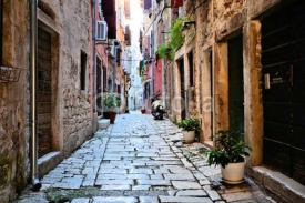 Fototapety Rustic street in the old town of Rovijn, Croatia