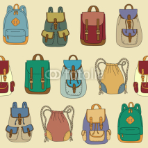 Fototapety Seamless pattern with various backpacks