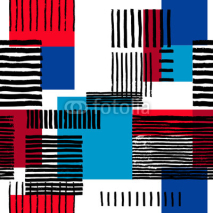 Fototapety Striped geometric seamless pattern. Hand drawn uneven black stripes on colorful rectangles, free layout. Red and blue sporty tones. Textile design.