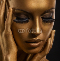 Naklejki Gilt. Golden Woman's Face. Giled Make-up. Painted Skin