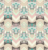 Fototapety Cute owl seamless pattern with native elements