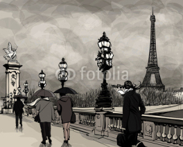Naklejki Drawing of Alexander III bridge in Paris showing Eiffel tower