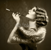 Obrazy i plakaty Smoking Retro Woman. Vintage Styled Black and White Photo