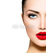 Fototapety Beauty Portrait. Professional Makeup for Brunette with Blue eyes