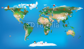 Obrazy i plakaty world map for childrens using cartoons of animals and famous lan
