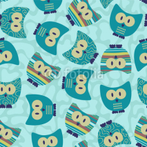 Obrazy i plakaty Cute seamless pattern wtih funny owls