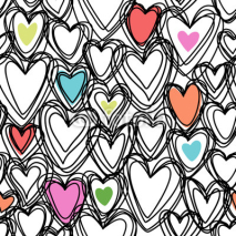 Naklejki Seamless pattern with doodle hearts