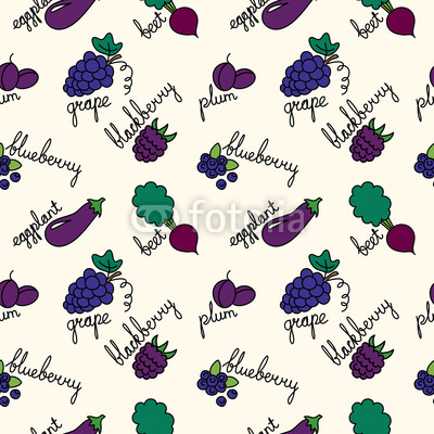 pattern with cartoon purple fruits and vegetables