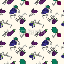 Fototapety pattern with cartoon purple fruits and vegetables
