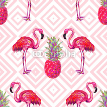 Obrazy i plakaty Seamless summer tropical pattern with flamingo and pineapple vector background. Perfect for wallpapers, pattern fills, web page backgrounds, surface textures, textile