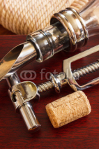 Naklejki The bottle with corkscrew and wine accessories