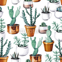 Obrazy i plakaty Watercolor cactus tropical garden seamless pattern. Watercolour cactus pattern
