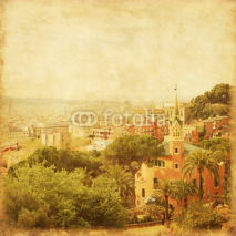 Obrazy i plakaty View of Barcelona from Park Guell in grunge and retro style.