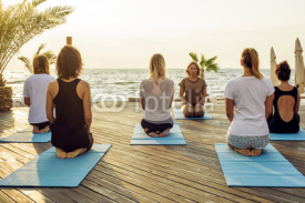Naklejki group of young females practicing yoga on the seaside during the sunrisе