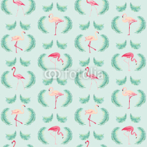 Fototapety Flamingo Bird Background - Retro seamless pattern in vector