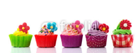 Fototapety Colorful cupcakes with flowers