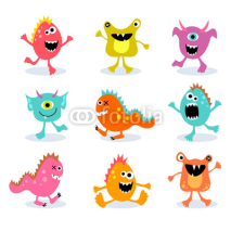 set of cute little monsters