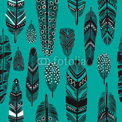 Cartoon feathers seamless pattern.