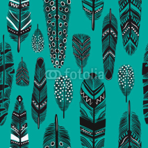 Fototapety Cartoon feathers seamless pattern.