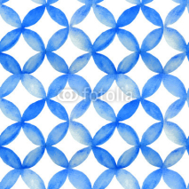 Naklejki Watercolor blue japanese pattern.