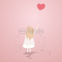 Naklejki Vector illustration of a sweet girl with a balloon