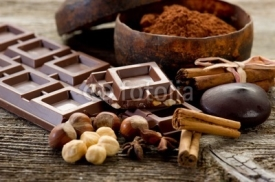 Naklejki chocolate with ingredients-cioccolato e ingredienti