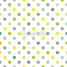 Obrazy i plakaty Seamless vector spring pattern blue polka dots white background