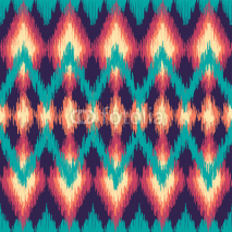 Fototapety Vector colorful seamless ikat ethnic pattern. Zigzag graphic elements.