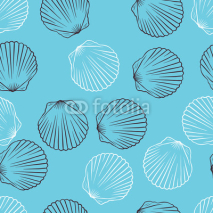 Obrazy i plakaty Seamless hand drawn texture of shells. Vector Illustration.