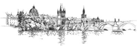 Obrazy i plakaty Panorama of Prague. View of Charles Bridge and the Vltava river