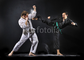 Fototapety Karate fighters practices