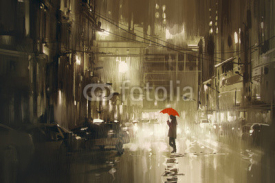 Fototapety woman with red umbrella crossing the street,rainy night,illustration