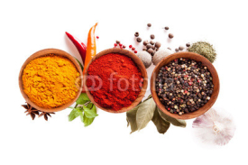Naklejki Various spices isolated on white background